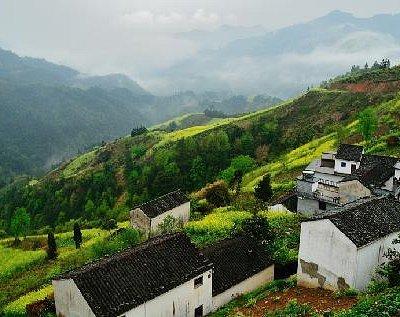 山坡上的村子和远处的油菜花