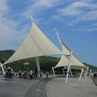 帆船样子的广场