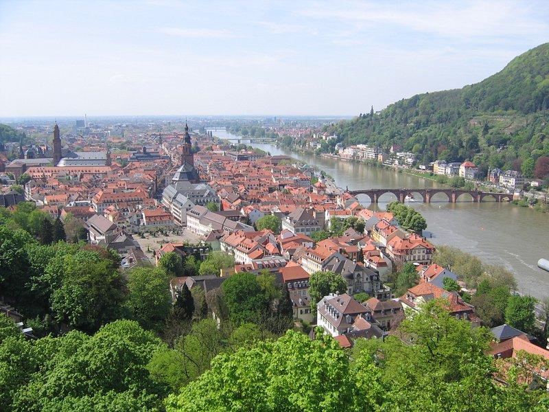 Old part of Heidelberg from Scheffel Terrace.