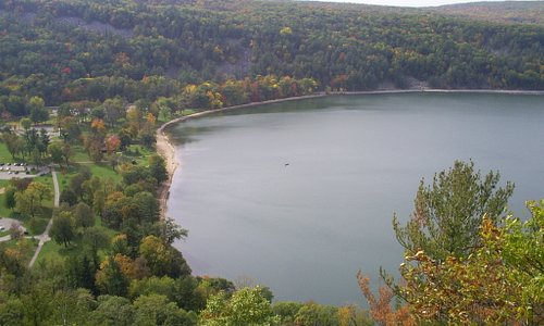 Devils Lake from atop east trail