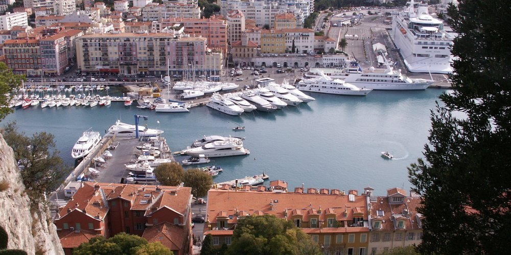 From the top looking down on Nice harbour.