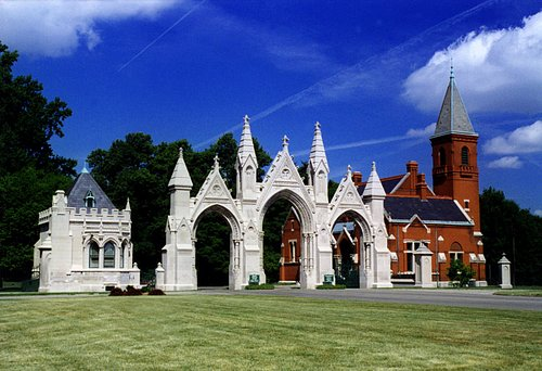Crown Hill Cemetery's Gothic Gate Entrance at 34th St. & Boulevard Place