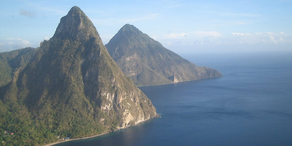 The Pitons from helicopter airport transfer
