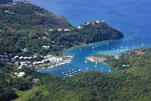 Marigot Bay from a helicopter