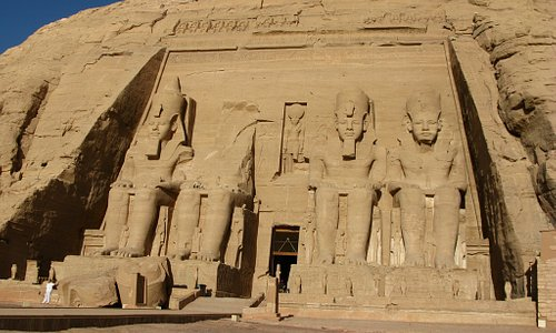 Ramses II Temple at Abu Simbel - The person on the left gives an idea of the size
