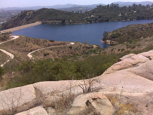 A view of the lake from Daley Ranch. The spillway is on the left