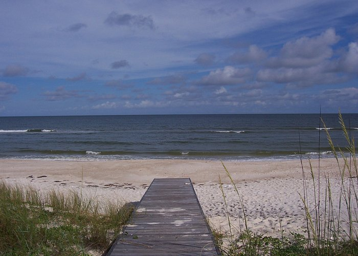View of the beach/Gulf from the boardwalk of A Reel Deal.