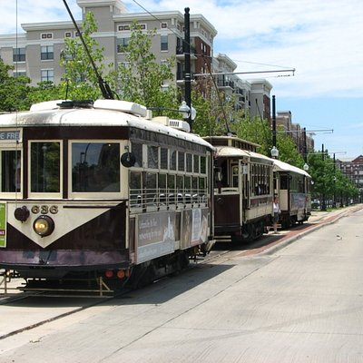 The McKinney Ave Trolley Fleet lined up at Cityplace