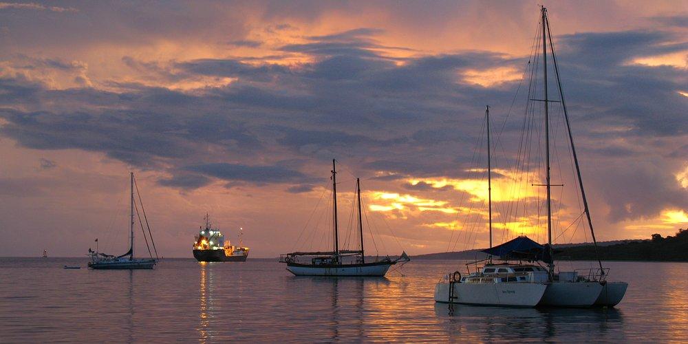 Port Vila, Vanuatu - Sunset at the harbour in the capital