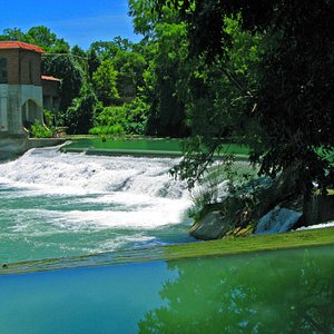The green lush water flows over the dam.