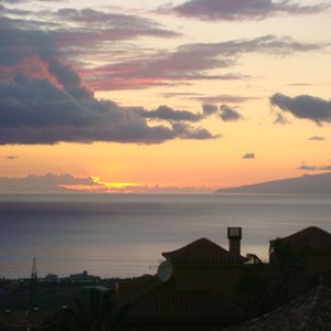 As the sun sets you can see La Gomera