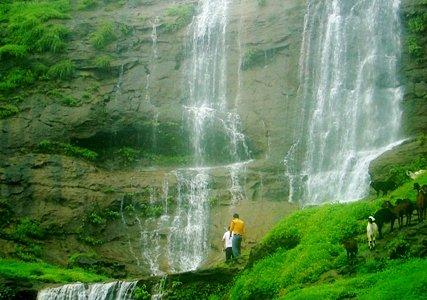 Misty monsoon waterfalls