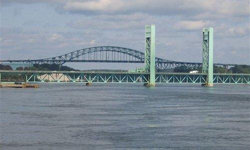 good view of bridges & river along the HarborWalk