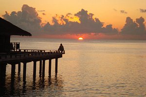 Sunset from the water bungalow