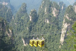 Cablecar in Zhangjiajie forest park -it beat the stairs!