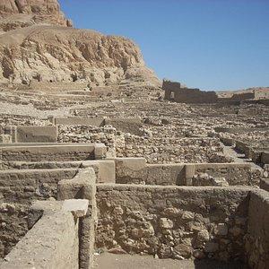 The workmen's village of Deir al-Medina lies below the necropolis where Sennedjem is buried.
