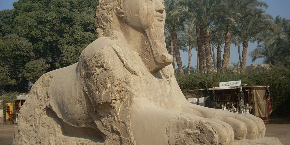 A closer view of the alabaster sphinx