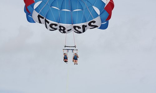 the girls in the air with Cocoa Beach Parasail