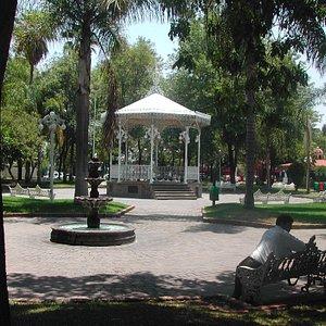 performance gazebo in center of park