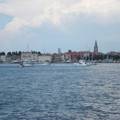 View of Porec old town from the Plava Laguna