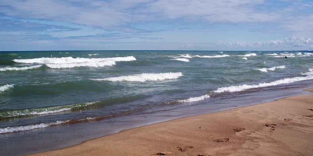 Beautiful waves on beach in New Buffalo