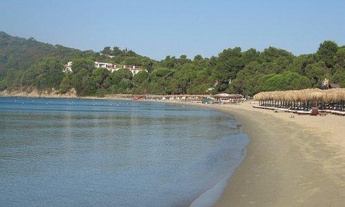 Koukounaries beach 10 min walk away