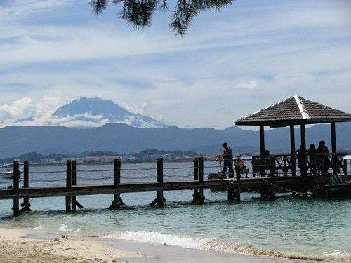 Manukan Island with Mt.Kinabalu as background
