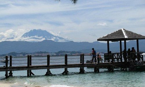 Manukan Island with Mt.Kinabalu as background