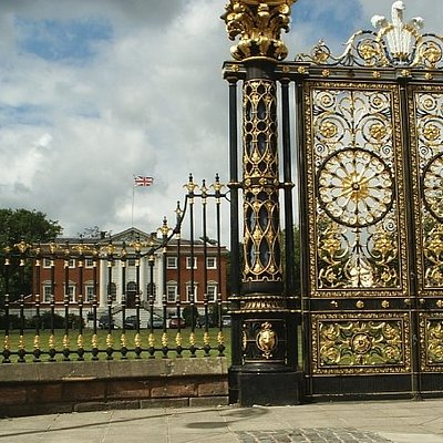Warrington Town Hall and the gates