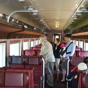Inside the 60's era passenger car