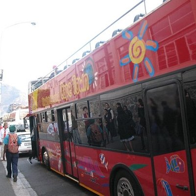 Getting aboard the Cape Town tour bus