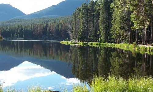 I took a photography class and this photo was taken at Sprague Lake in the Rocky Mountains.  It