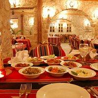 Inside the restaurant - starter on the table!