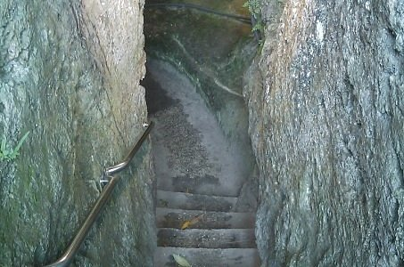 Walk down these stairs with a 50 lbs. air tank on your back!  I had to squeeze through.