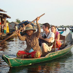 Enjoying a Paddle Boat Tour of the Floating Village