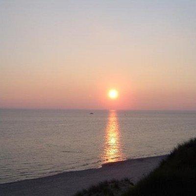 Sunset over Lake Michigan. Pere Marquette Park in Muskegon, MI