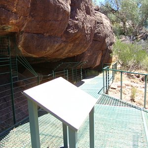 The art site on left, overlooking a dry riverbed on right.
