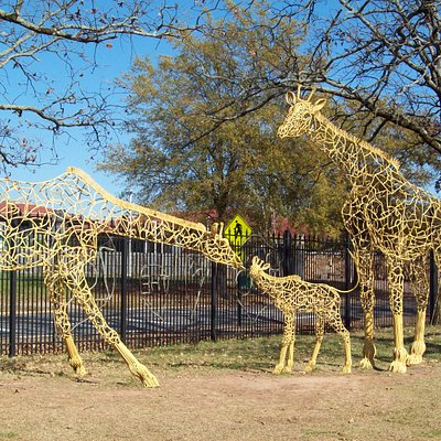 giraffe sculpture at entrance