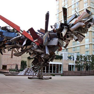 Airplane wreckage sculpture outside Museum of Contemporary Art