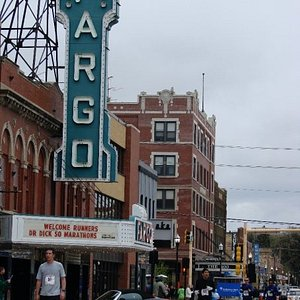 Mike running underneath the famous Fargo Theater sign. Mile 8.