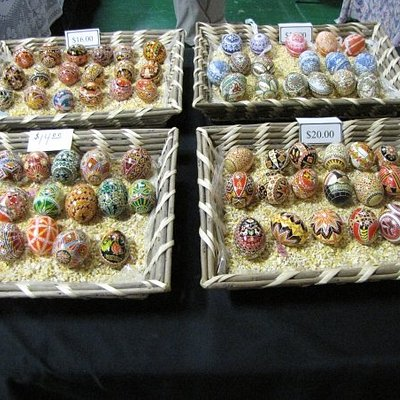 Hundreds of decorated eggs are imported in from Poland, Russia, and Austria.