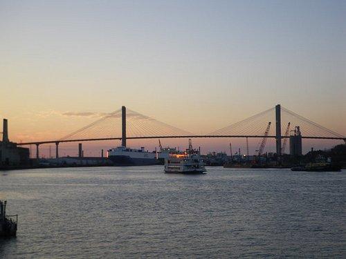 Sun setting on Savannah River