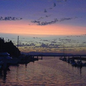 I took this photo just after sunset at the marina on Blake Island in Puget Sound, just across fr