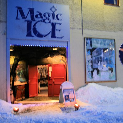 The Magic Ice front is illuminated at night by flares!