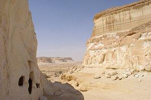 Desert tombs near the sand sea.