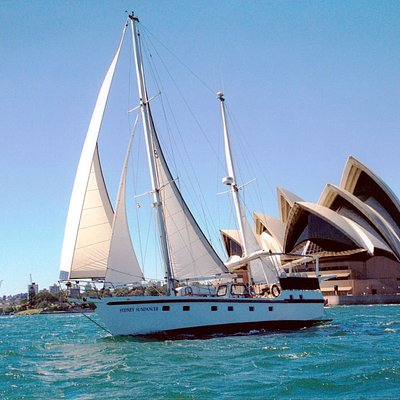 "Harnessing the wind for propulsion aboard charter yacht ""Sydney Sundancer"" must be the world's m"