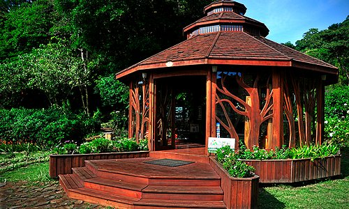 Part of the gallery and gardens, custom made gazebo, biological corridor
