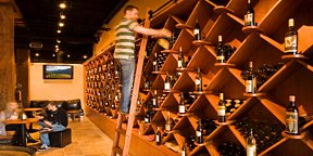 Wall of Wine at Winery Collective with over 100 Boutique Wines from California