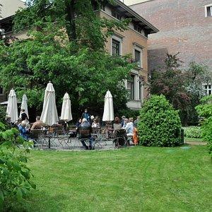 the outdoor cafe and garden