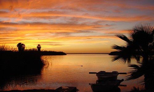 Sunset row across the lagoon